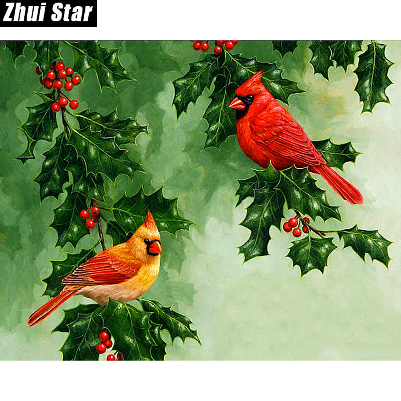 Zhui Star Diamond Painting Full Square Diamond Two birds And cherry 3D Embroidery Cross Stitch Rhinestone 5D DIY Mosaic Decor