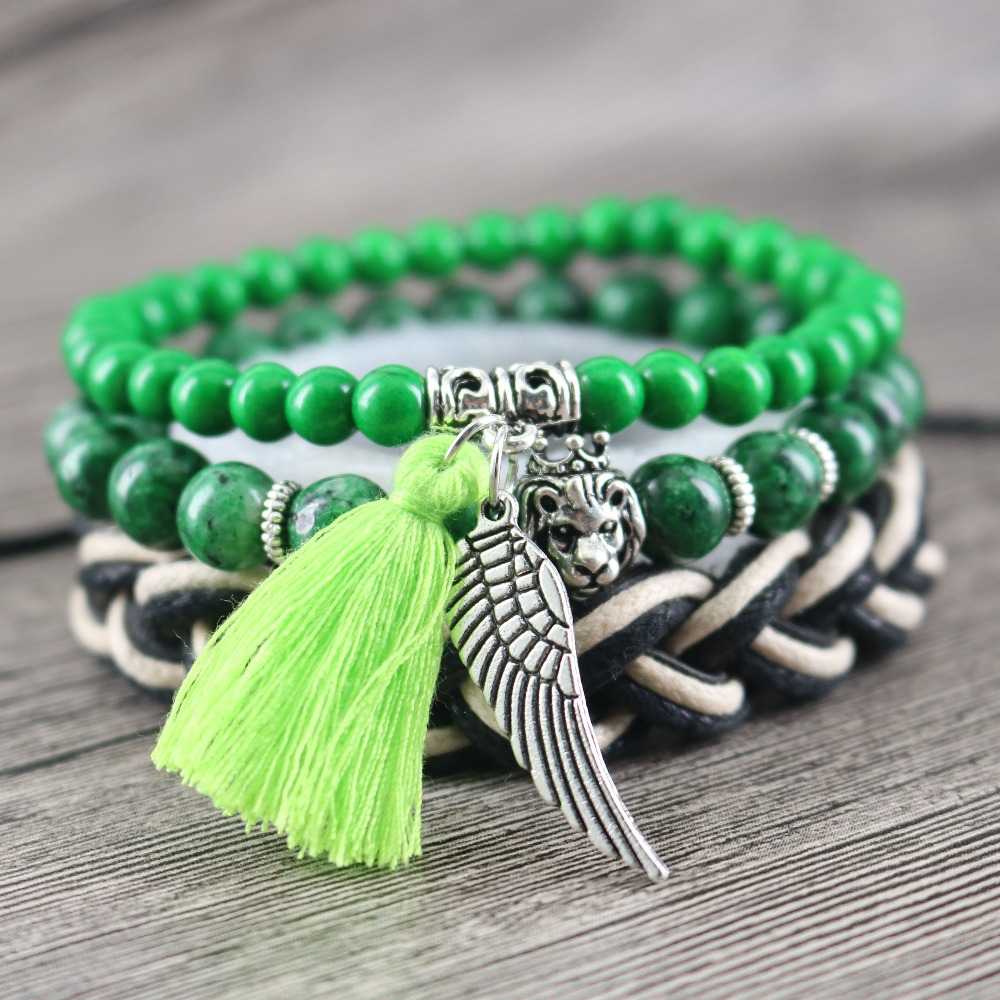 Vintage Wing Dangled Light Green Tassel Bracelets Beaded Stones Strand Leather Handmade Bangles for Women