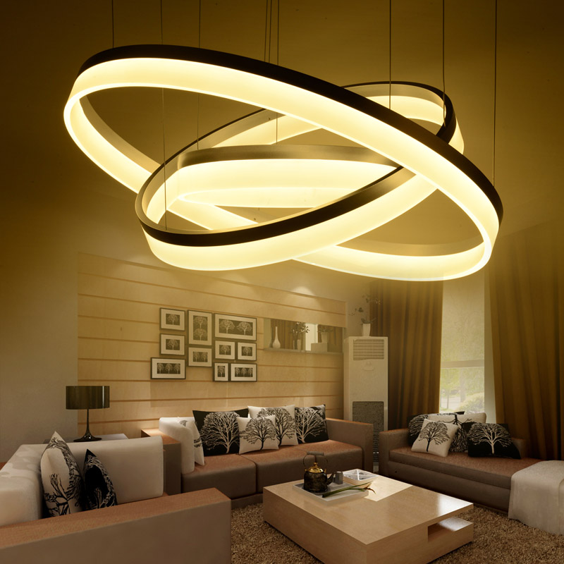 Modern LED living dining room pendant lights suspension luminaire suspendu led ring lighting lamp fixture de techo colgante