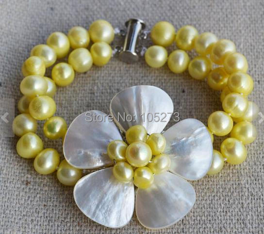 New Arriver Flower Bracelet Yellow Color 2 Rows 7-8mm Genuine Freshwater Pearl Shell Flower Bracelet Wedding Party Jewelry
