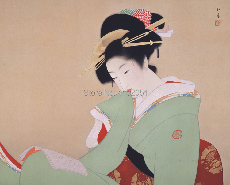 portrait poster canvas painting Japanese traditional art geisha beauty in reading mural prints picture room decorative art