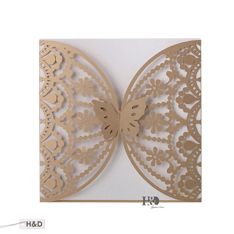120PCS/lot Beige Gold Laser Cut Butterfly Hollow Flowers Wedding Invitations Card Birthday Party Souvenirs Wedding Decoration